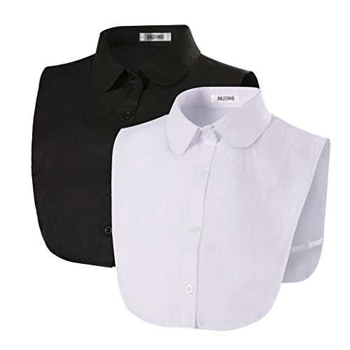 Anzermix Peterpan Fake Collar Detachable Dickey Blouse Half Shirts Set (2 Pack-Round Collar (Cotton))(Size: One Size)