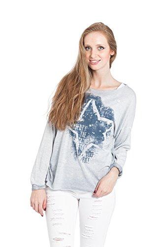 Abbino 15524 Shirts Tops Damen - Made in Italy - Viele Farben - Frühjahr Herbst Sommer Übergang Damenshirts Damentops Viskose Bedrucken Locker Lässig Langarm Sexy Sale Freizeit Elegant Blau (Art. 15524/1)