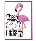 Pink Flamingo zum 40. Geburtstag–Damen–Tochter–Geburtstagskarte für Enkelin–Schwester–Freund