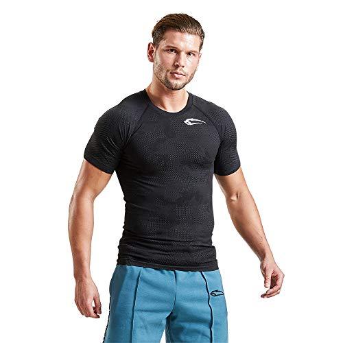 SMILODOX Slim Fit T-Shirt Herren 'Cammo Pattern' | Seamless - Kurzarm Funktionsshirt für Sport Fitness Gym & Training | Trainingsshirt - Laufshirt - Sportshirt mit Aufdruck, Farbe:Anthrazit, Größe:S
