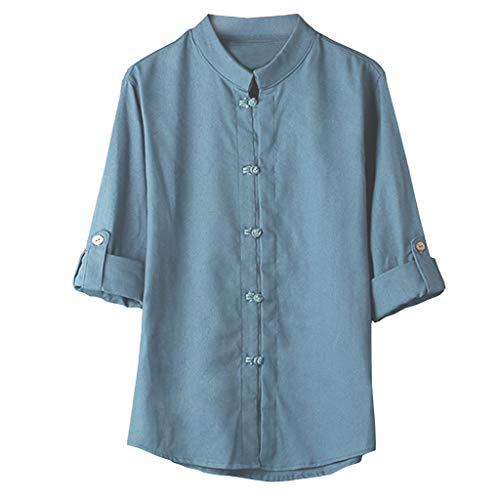 Crazboy Herren klassischen chinesischen Stil Kung Fu Shirt Tops Tang Anzug 3/4 Ärmel Leinenbluse(Large,Blau)