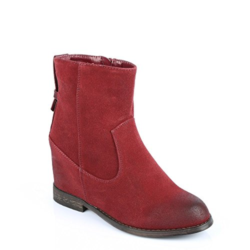 Ideal Shoes–Stiefelette Klassische semi-compensées Kunstleder Genevieve Rot - rot