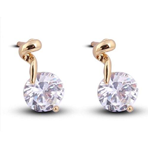 Boucles d'oreille torsade cristal swarovski elements zirconium plaqué or Blanc
