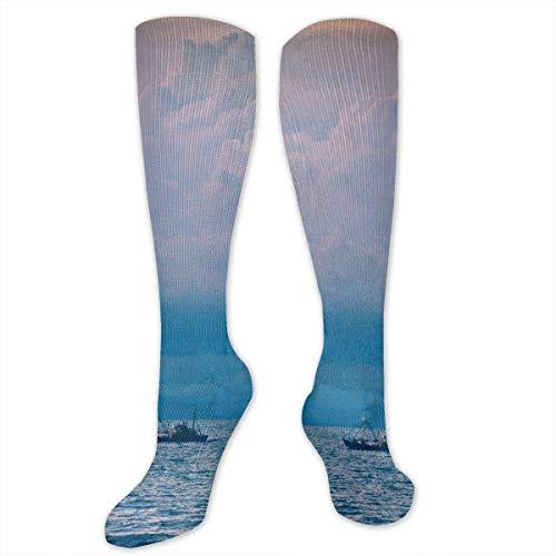 ouyjian Boot auf Meer blau Wolken Polyester Baumwolle über Knie Bein hoch Socken Neuheit Unisex Oberschenkel Strümpfe Cosplay Boot - Neuheit Socken Knie Hoch