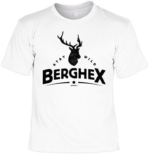 T-Shirt zum Wandern Shirt Stay wild Berghex Bergsteiger Wandertour Pilgern Alpinisten Ski Tour Wander Tour Wanderkleidung Weiß