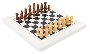 11395 Juego de Mesa de ajedrez y Damas, Small Foot, de Madera, Dos Juegos clásicos en 1, Juego de salón