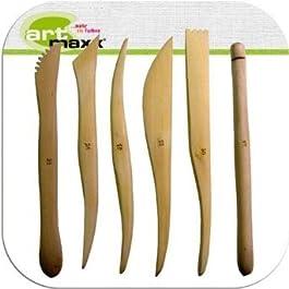 Künstlerbedarf – Set di 6 attrezzi per modellare in legno