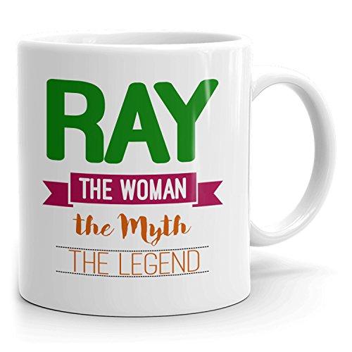 Ray Coffee Mug Kaffeetasse Kaffeebecher Personalisiert mit Name - The Woman The Myth The Legend - Beste Geschenke Gift for Frauen Women - 11 oz White mug - Green