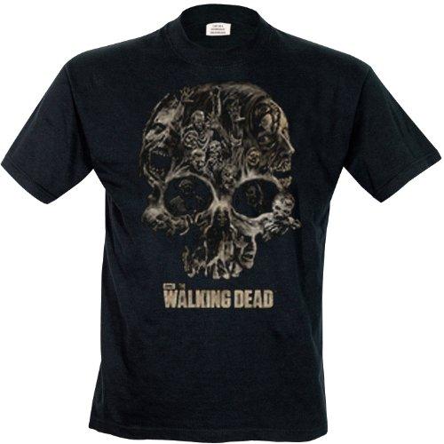 The Walking Dead Skull Black T-Shirt, Nero, X-Large Uomo