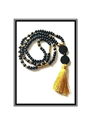 Sautoir Mala Pompon Jaune doré & perles en verre / boho collier Natural zen stone wood brown lass black beads tassel buddha