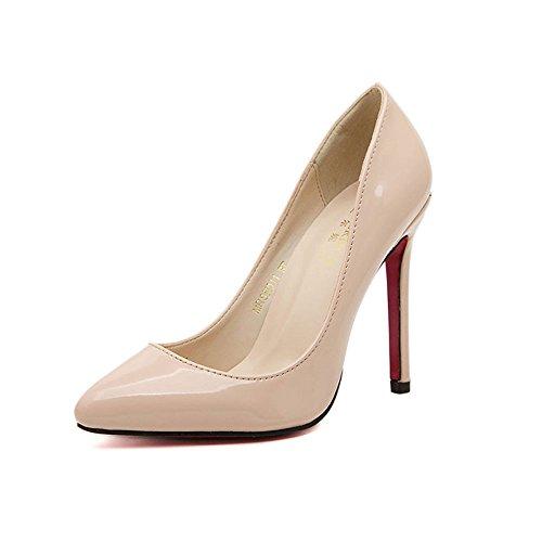 Ochenta Sexy Femme Pompes Pu Fermé Toe Talon Haut Beige Chaussures