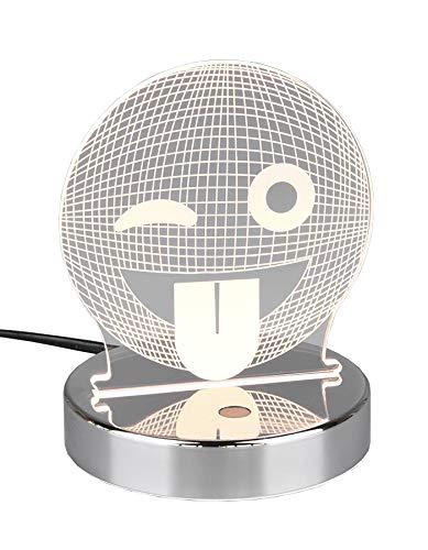 Reality Leuchten LED Lasercut Tischleuchte Smiley R52641106, Metall Chrom, Acryl Motiv Smiley, inkl. 3,2 Watt RGB LED mit Farbwechsel