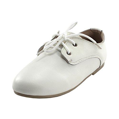 maxu Little Girl 's Boy 's Schnürschuh Classic Oxford Kleid Schuh Weiß