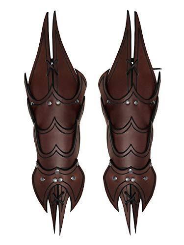 Andracor - Schuppen Armschiene Dämon - ausgefallener Armschoner aus Leder mit Handschutz und Spikes - Braun - LARP Mittelalter Steampunk & Cosplay