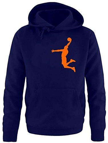 DUNK Basketball Slam Dunkin Kinder Sweatshirt mit Kapuze HOODIE navy-orange, Gr.152cm