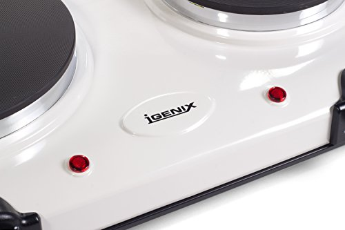 417%2BnA4SDJL - Igenix IG8020 Portable Double Electric Hotplate, Table Top Hob, Double Boiling Ring Cooktop, 2250 W, White