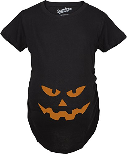 Crazy Dog TShirts - Maternity Triangle Nose Pumpkin Face Halloween Pregnancy Announcement T shirt (Black) M - damen - M