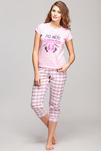 Rossli SAL-PY1014 Subtil Pyjama De Femmes Manches Courtes, Pantalon 3/4 Rose