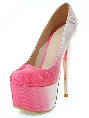 Aisun Damen Sexy Mehrfarbig Lackleder Low Cut Plateau Stiletto Ohne Verschluss Pumps Absatzschuhe Pink