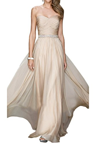 La_Marie Braut Flieder Herrlich Chiffon Brautjungfernkleider Abendkleider Promkleider A-linie Festlichkleider Champagner