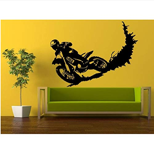Lovemq 85 * 60 Cm Motocross Racing Stunt Dirt Bike Biker Abnehmbare Vinyl Wandaufkleber Jungen Zimmer Motobike Wandtattoo Schlafzimmer Dekorative Dekoration