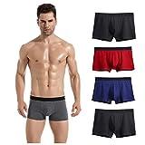 Lantch Herren Unterwäsche Basic Boxershorts Baumwolle Unterhosen Herren Retroshorts 2/4 Pack (E-2Schwarz+Blau+Rot, XL)