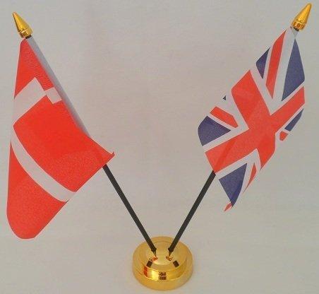 Dänemark Dänische Flagge von der Flagge des Vereinigten Königreichs 2Kugeln mit Display aus Glas Tisch Gold Base (Glas Tisch-basen)