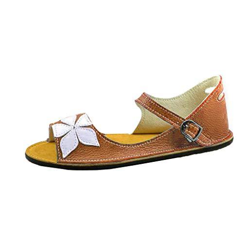 Kobay 2019 Heißer Römischen Schuhe Frauen Sommer Retro Floral Buckle-Strap Sandalen Süße Student Flache Unterseite Schuhe(38,Gelb)