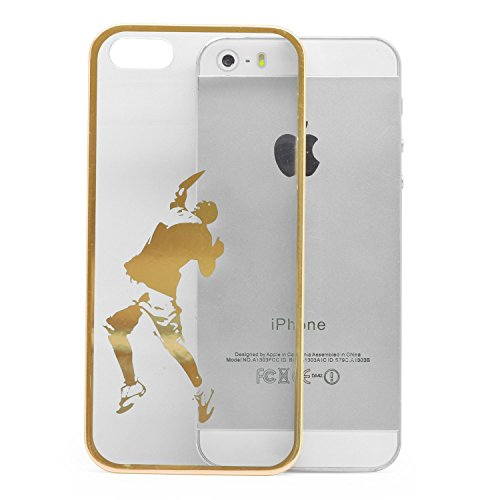 iProtect Schutzhülle Apple iPhone 5, 5s, SE Hülle Walking Dog Edition transparent pink Gold Ball Game