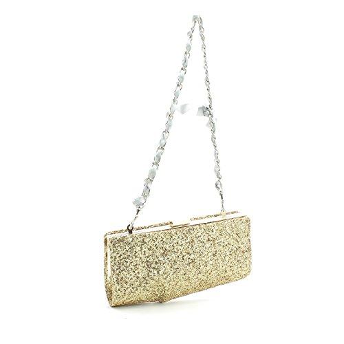 Pochette borsa donna / woman SARA LOPEZ con decorazioni a rilievo bo16315 Oro