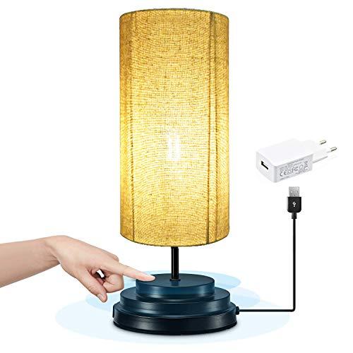 Bonlux Regulable 4W 5V Redonda LED Lámpara Moderna de Mesilla con Sensor de Tacto, Lámpara Vintage...