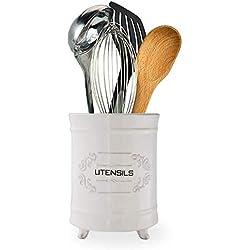 Range-Ustensile Français Blanc en Céramique - Panier à Ustensile de Cuisine