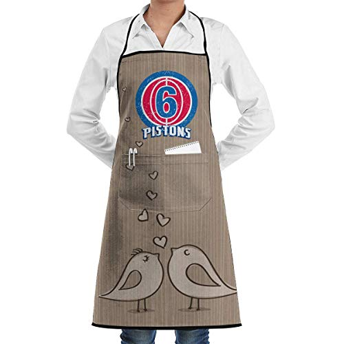 Adjustable Bib Apron with Pocket Detroit Club 6 Striped Cooking Kitchen Aprons for Women & Men -