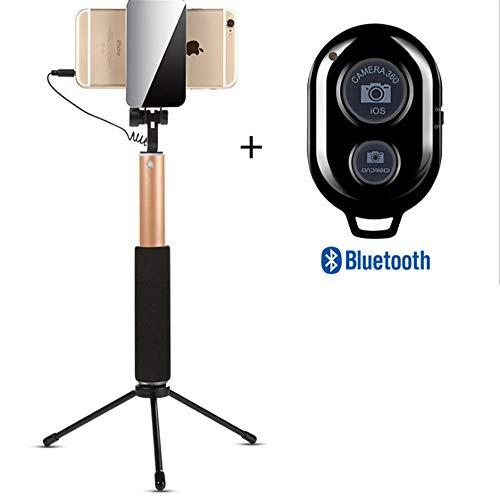 ZMXZMQ Professionelles High-end-Selfie-stativ Od Für iPhone, Android-Telefon, Abnehmbare Drahtlose Bluetooth-Fernbedienung (Schwarz, Gold, Rose,LightGold