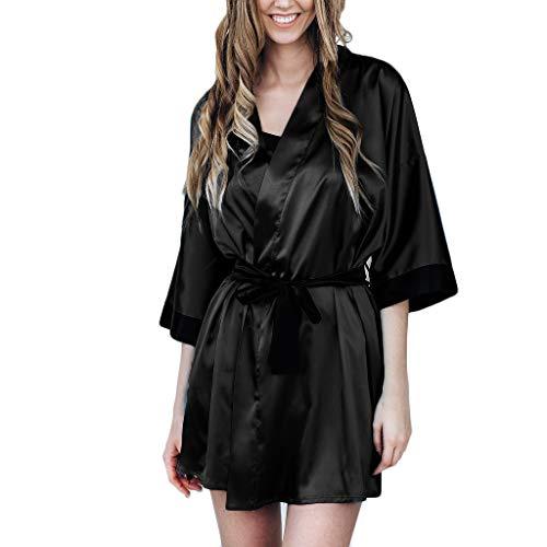 JKLEUTRW Damen Dessous, Frauen Erotische Erotik ReizwäSche Negligee Sexy Black Silk Satin Kimono Robe Spitze Bademantel Dessous Nachtwäsche Pyjamas Negligé (Sexy Silk-roben)