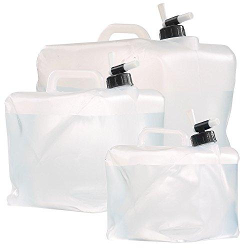 Semptec Urban Survival Technology Falst Wasser Fässer: Faltbarer Wasserkanister mit Zapfhahn, 5, 10 und 20 Liter-Set (Kanister)