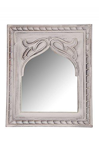 Orient Spiegel Wandspiegel Junis 47cm groß Weiß | Großer Marokkanischer Flurspiegel | Holzrahmen orientalisch geschnitzt | Orientalischer Vintage Badspiegel ohne Beleuchtung als Orientalische Deko
