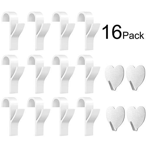 Huker gancio per termoarredo bagno 12 pezzi di appendini per termoarredo e 4 pezzi di ganci adesivi per asciugamani impermeabile in acciaio inox.(16 pezzi)
