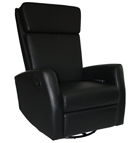 KMH, Massagesessel/Fernsehsessel / Relaxsessel *Hannover* - Schwarz (Drehbar/Verstellbar) (#800073)
