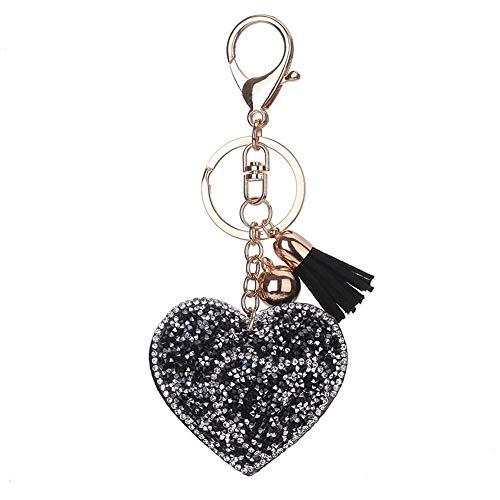 Cmqrtsgssd Dauerhaft Shiny Strass Double Heart Glitter Keychain PU Leder Quaste Schlüsselanhänger Schlüsselanhänger Handtasche Charms Anhänger Schlüsselanhänger (grau) (Color : Black White) - White Heart Handtasche