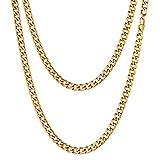 FOCALOOK Collar Hombre Cadena Cubana Curb 1:1 5mm Collar básica de Acero Inoxidable 51cm Chapado en Oro 18k Opcional Regalo para Mujer y Hombre con Caja