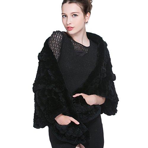 91eedb0da0abaf URSFUR Mode Luxus Damen Echte Rex Kaninchen Gestrickt Umhang Fell  Schulterumhang Cape Stola -schwarz