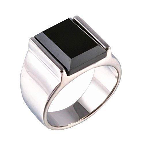 PAURO Herren Rostfreier Stahl Schwarz Onyx Ringe Silber Jahrgang Größe 57