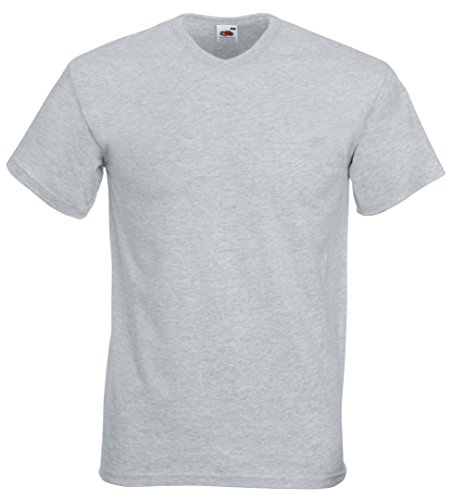 Fruit of the Loom Valueweight t-shirt col v Gris Chiné