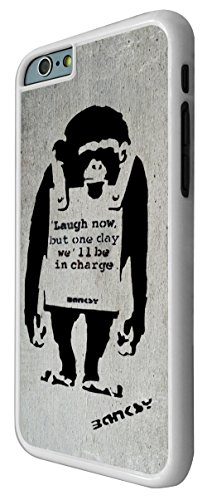 546-Banksy Monkey Laugh Now Coque iPhone 66S 4.7Design Fashion Trend Case Back Cover Métal et Plastique-Blanc