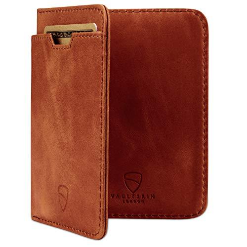 örse mit Schutz für RFID Karten - Hochwertiges italienisches Leder - Ultradünne Außentasche und Platz für bis zu 9 Karten und Bargeld (Cognac) ()