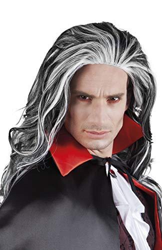 costumebakery - Kostüm Accessoires Zubehör Schwarze Herren Langhaar Perücke mit Strähnen, Vampir Wig Lord Dracula, Ghost Horror Zombie, perfekt für Halloween Karneval und Fasching, Grau
