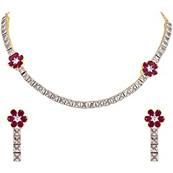 Ratnavali Jewels American Diamond CZ Gold Plated Designer Jewellery Set/ Necklace Set With Chain & Earring For Girls/Women (RVA104)