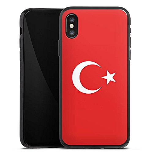 Apple iPhone X Silikon Hülle Case Schutzhülle Flag of Turkey Türkei Flagge Türkiye Silikon Case schwarz
