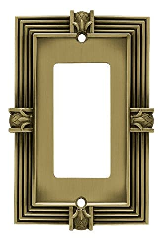 Franklin Brass 64473 Pineapple Single Decorator Wall Plate / Switch Plate / Cover, Tumbled Antique